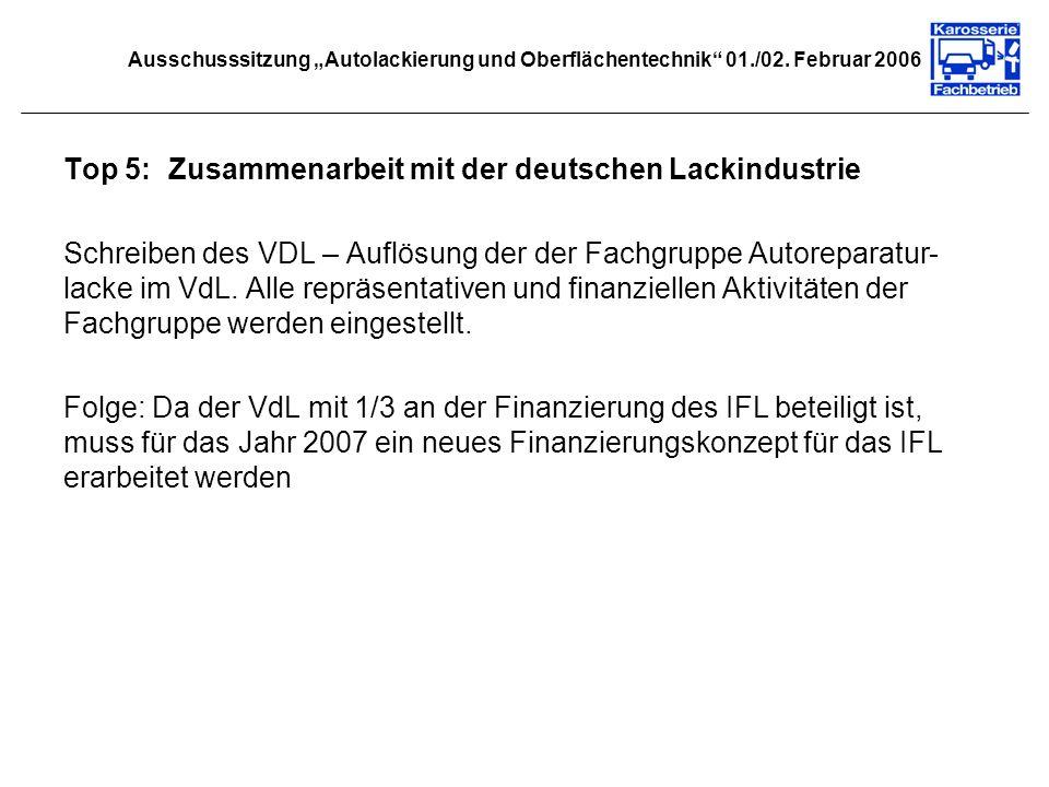 Ausschusssitzung Autolackierung und Oberflächentechnik 01./02. Februar 2006 Top 5:Zusammenarbeit mit der deutschen Lackindustrie Schreiben des VDL – A