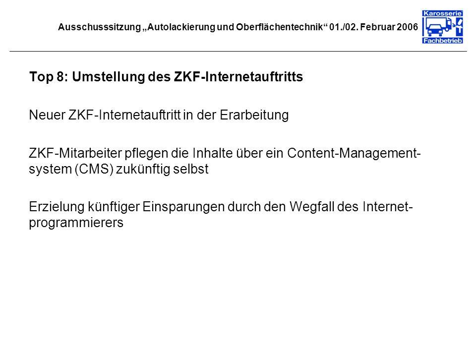 Ausschusssitzung Autolackierung und Oberflächentechnik 01./02. Februar 2006 Top 8: Umstellung des ZKF-Internetauftritts Neuer ZKF-Internetauftritt in
