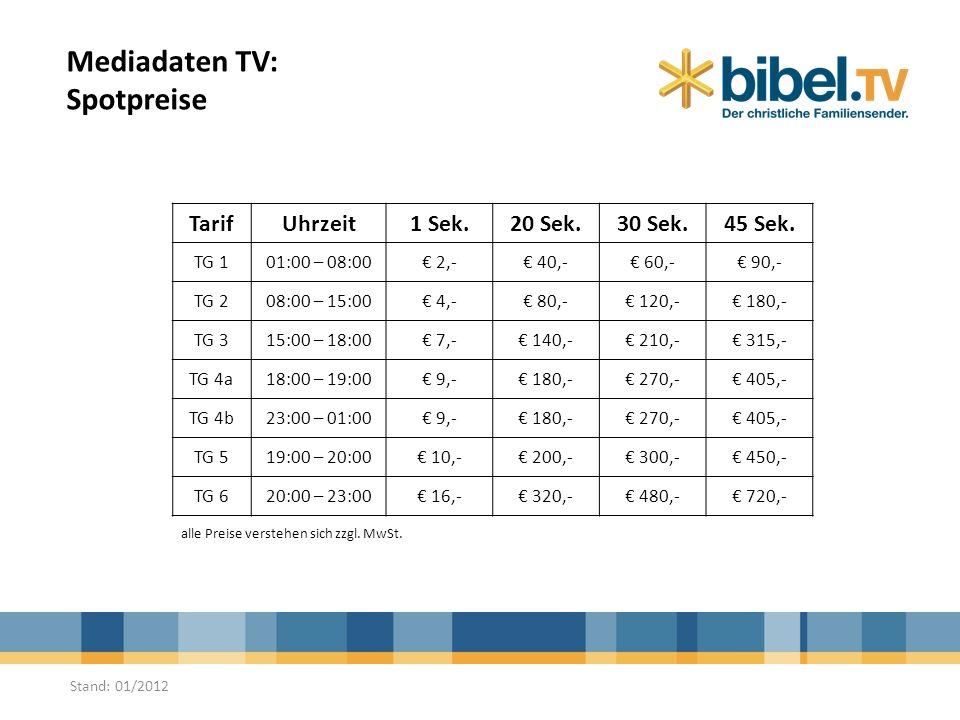 Mediadaten TV: Spotpreise TarifUhrzeit1 Sek.20 Sek.30 Sek.45 Sek. TG 101:00 – 08:00 2,- 40,- 60,- 90,- TG 208:00 – 15:00 4,- 80,- 120,- 180,- TG 315:0