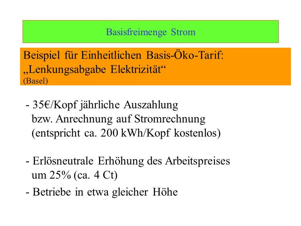 Ulrich Schachtschneider Basisfreimenge Strom - 35/Kopf jährliche Auszahlung bzw. Anrechnung auf Stromrechnung (entspricht ca. 200 kWh/Kopf kostenlos)
