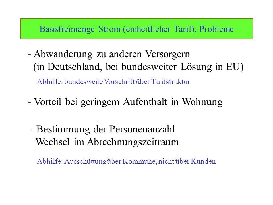 Ulrich Schachtschneider Basisfreimenge Strom (einheitlicher Tarif): Probleme - Abwanderung zu anderen Versorgern (in Deutschland, bei bundesweiter Lös