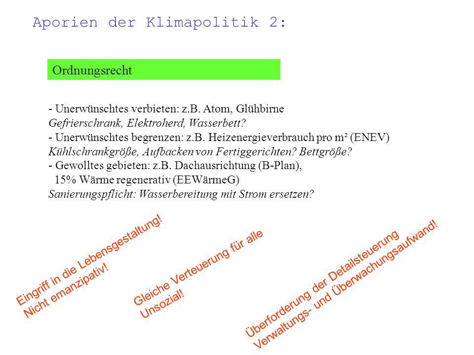 Ordnungsrecht - Unerwünschtes verbieten: z.B. Atom, Glühbirne Gefrierschrank, Elektroherd, Wasserbett? - Unerwünschtes begrenzen: z.B. Heizenergieverb