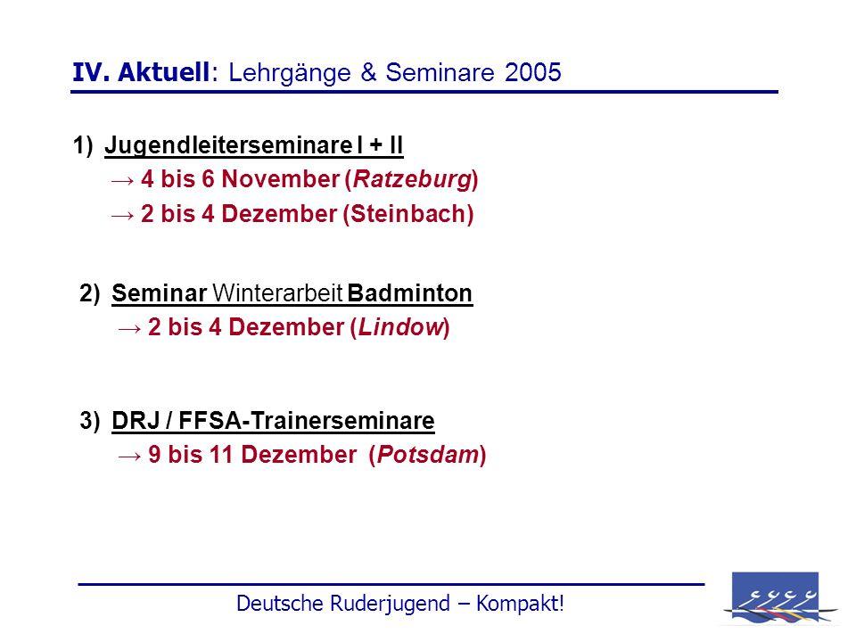 IV. Aktuell: Lehrgänge & Seminare 2005 1)Jugendleiterseminare I + II 4 bis 6 November (Ratzeburg) 2 bis 4 Dezember (Steinbach) 2)Seminar Winterarbeit