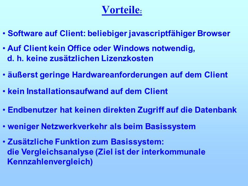 Software auf Client: beliebiger javascriptfähiger Browser Auf Client kein Office oder Windows notwendig, d. h. keine zusätzlichen Lizenzkosten Zusätzl