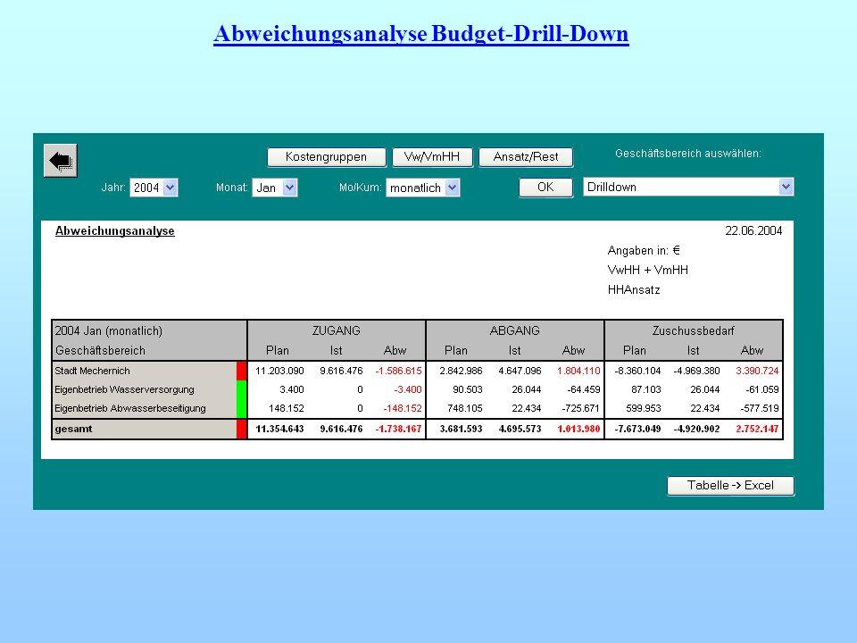 Abweichungsanalyse Budget-Drill-Down