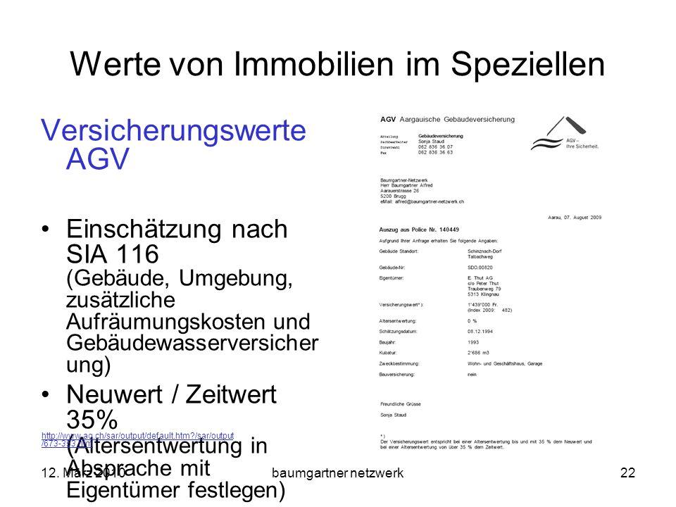 12. März 2010baumgartner netzwerk22 Werte von Immobilien im Speziellen Versicherungswerte AGV Einschätzung nach SIA 116 (Gebäude, Umgebung, zusätzlich