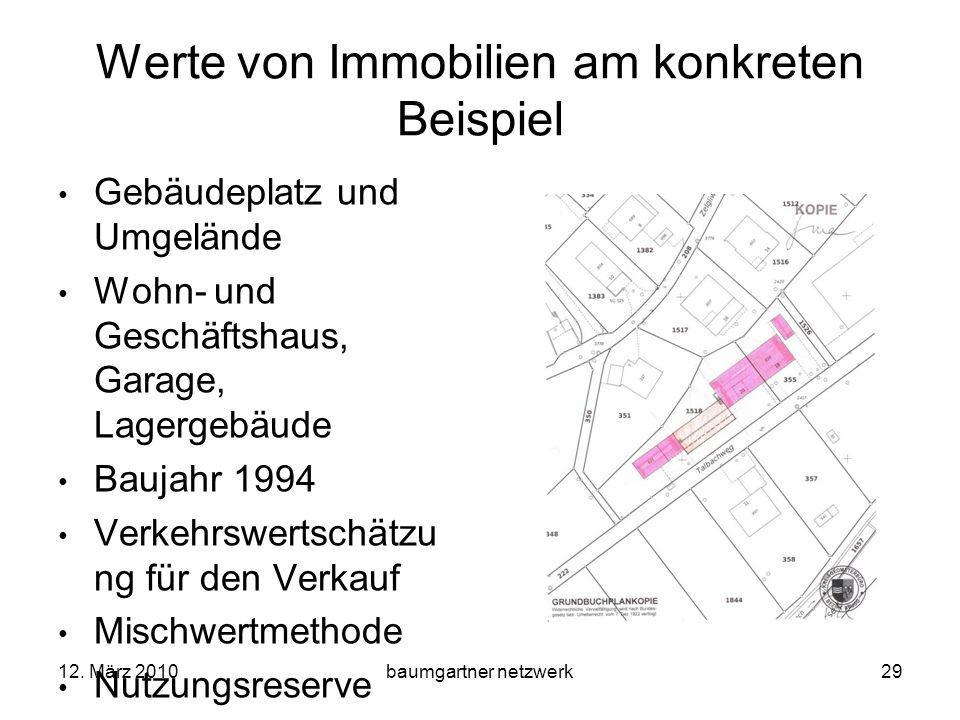 12. März 2010baumgartner netzwerk29 Werte von Immobilien am konkreten Beispiel Gebäudeplatz und Umgelände Wohn- und Geschäftshaus, Garage, Lagergebäud