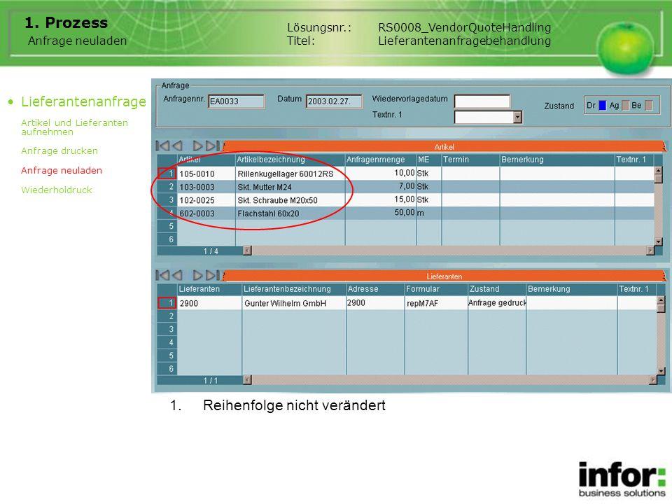 1. Prozess Anfrage neuladen Lösungsnr.:RS0008_VendorQuoteHandling Titel:Lieferantenanfragebehandlung Lieferantenanfrage Artikel und Lieferanten aufneh