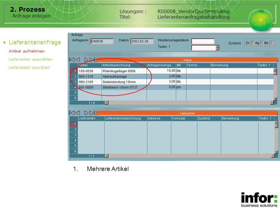 Lieferanten auswählen Lösungsnr.:RS0008_VendorQuoteHandling Titel:Lieferantenanfragebehandlung Lieferantenanfrage Artikel aufnehmen Lieferanten auswählen Lieferanten zuordnen 1.Lieferanten ausgewählt und übernommen 2.