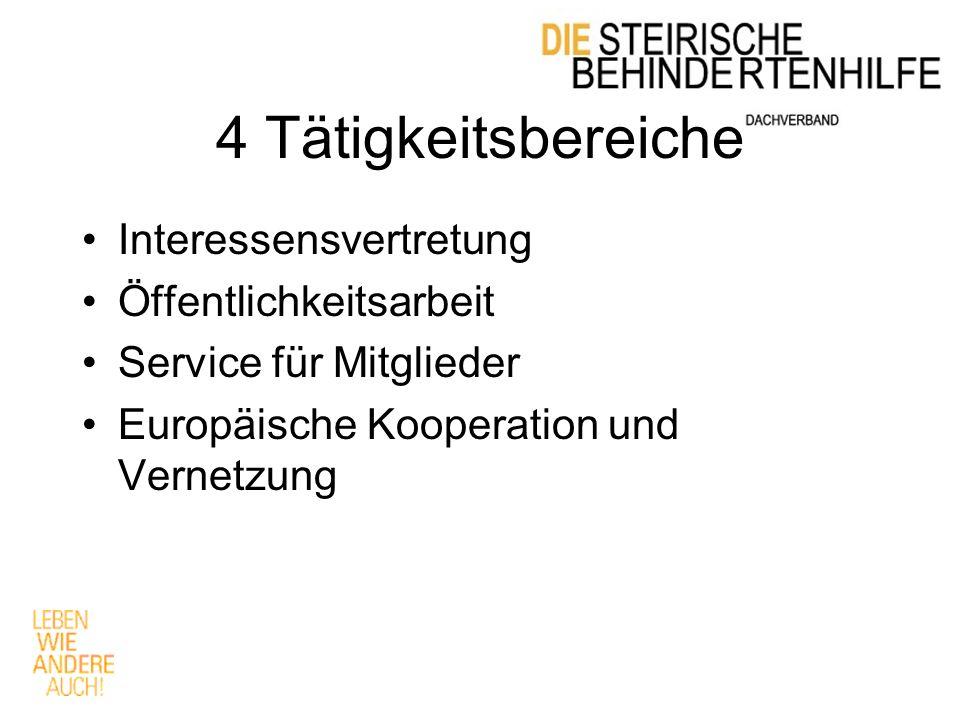4 Tätigkeitsbereiche Interessensvertretung Öffentlichkeitsarbeit Service für Mitglieder Europäische Kooperation und Vernetzung