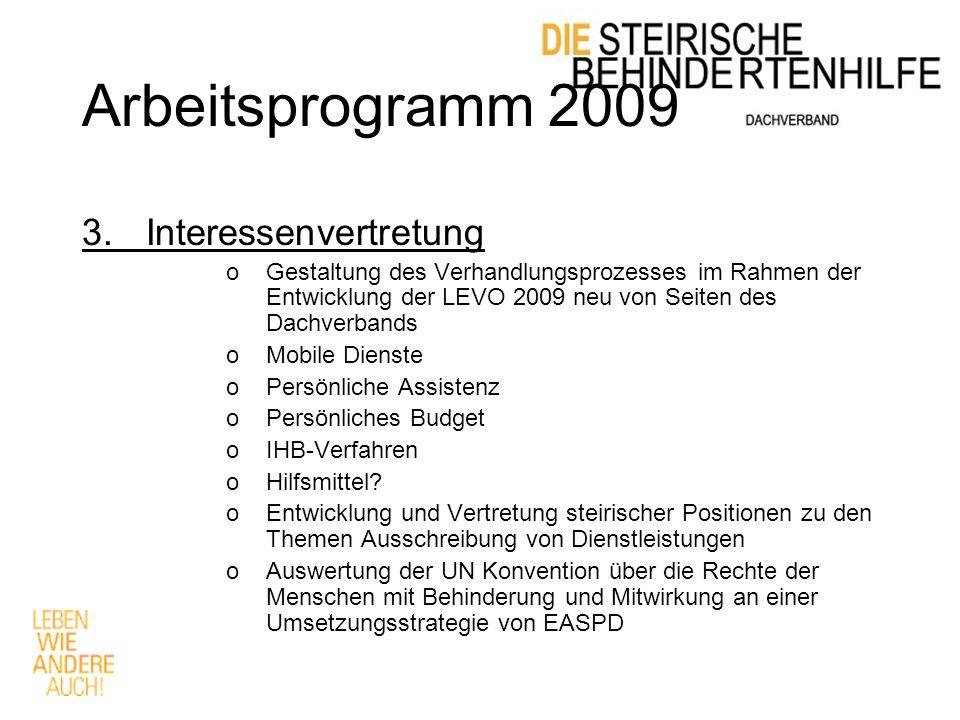 Arbeitsprogramm 2009 3.