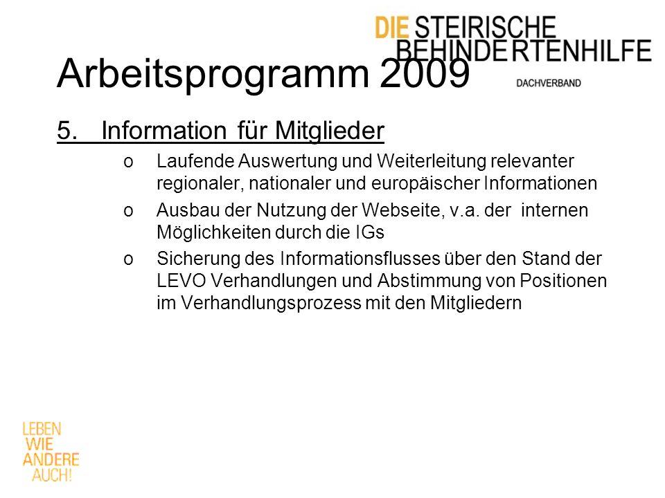 Arbeitsprogramm 2009 5.