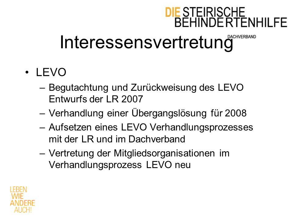 Interessensvertretung LEVO –Begutachtung und Zurückweisung des LEVO Entwurfs der LR 2007 –Verhandlung einer Übergangslösung für 2008 –Aufsetzen eines LEVO Verhandlungsprozesses mit der LR und im Dachverband –Vertretung der Mitgliedsorganisationen im Verhandlungsprozess LEVO neu
