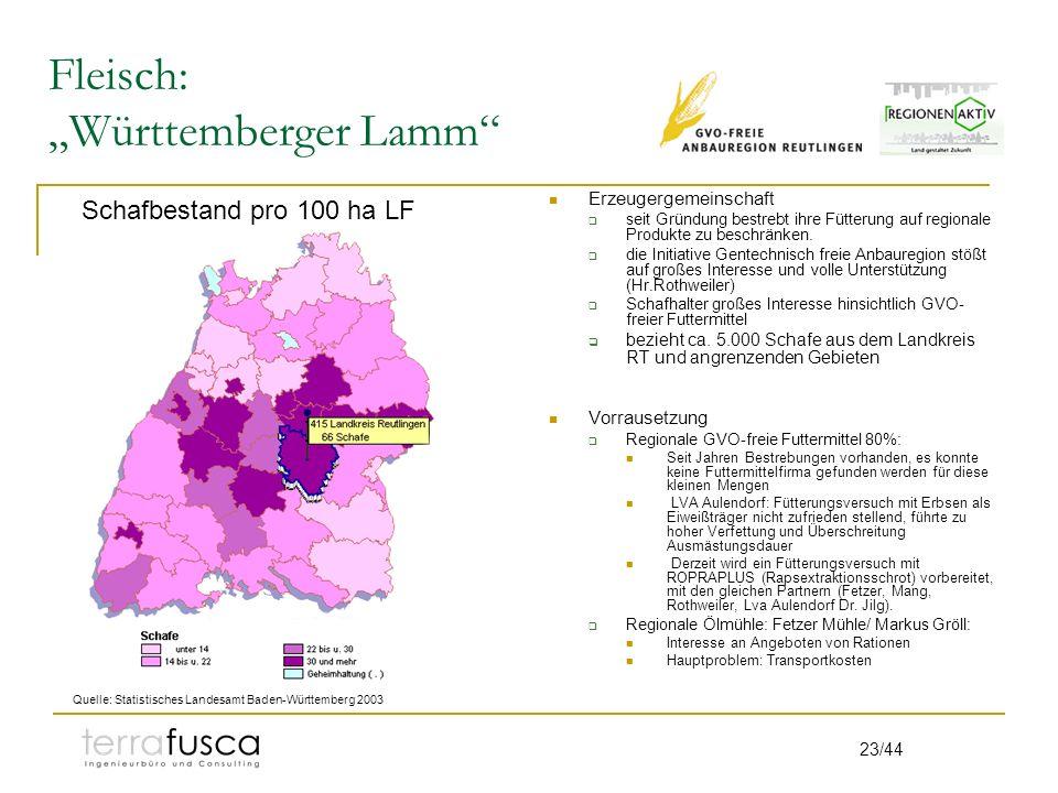 23/44 Fleisch: Württemberger Lamm Erzeugergemeinschaft seit Gründung bestrebt ihre Fütterung auf regionale Produkte zu beschränken. die Initiative Gen