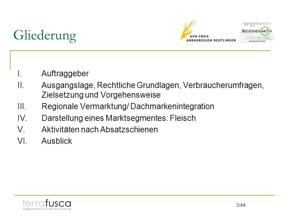 3/44 Gliederung I.Auftraggeber II.Ausgangslage, Rechtliche Grundlagen, Verbraucherumfragen, Zielsetzung und Vorgehensweise III.Regionale Vermarktung/