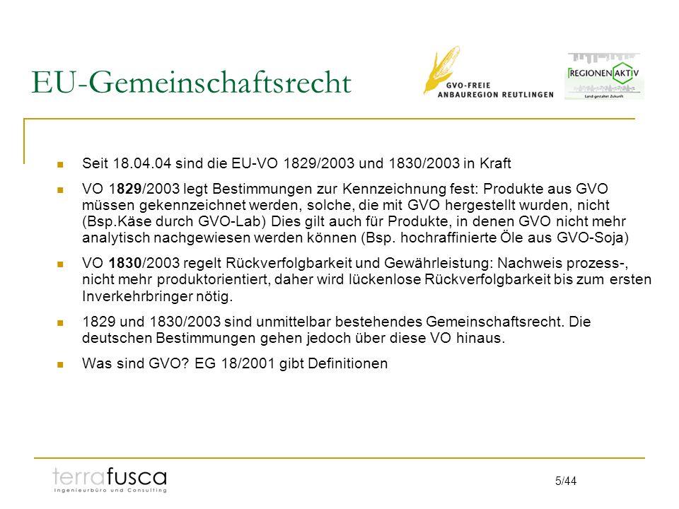 5/44 EU-Gemeinschaftsrecht Seit 18.04.04 sind die EU-VO 1829/2003 und 1830/2003 in Kraft VO 1829/2003 legt Bestimmungen zur Kennzeichnung fest: Produkte aus GVO müssen gekennzeichnet werden, solche, die mit GVO hergestellt wurden, nicht (Bsp.Käse durch GVO-Lab) Dies gilt auch für Produkte, in denen GVO nicht mehr analytisch nachgewiesen werden können (Bsp.