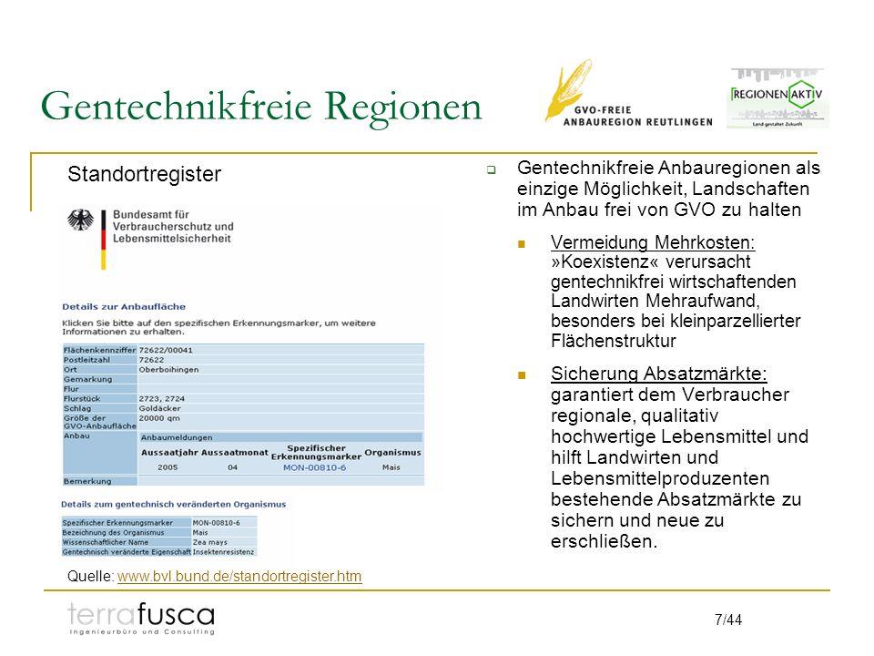 7/44 Gentechnikfreie Regionen Gentechnikfreie Anbauregionen als einzige Möglichkeit, Landschaften im Anbau frei von GVO zu halten Vermeidung Mehrkoste