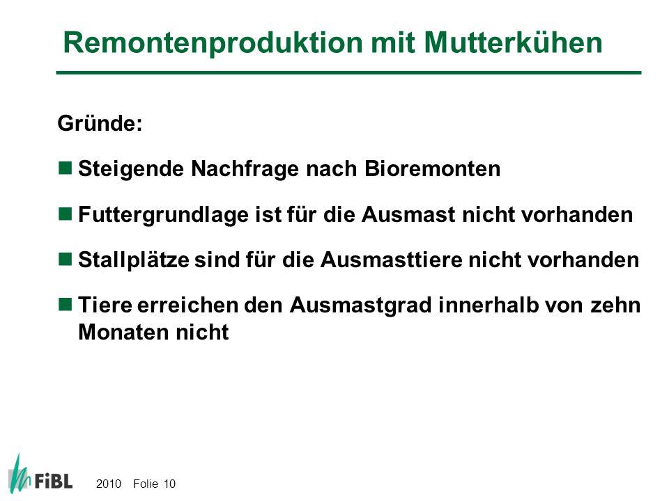 2010 Folie 10 Remontenproduktion mit Mutterkühen Gründe: Steigende Nachfrage nach Bioremonten Futtergrundlage ist für die Ausmast nicht vorhanden Stal