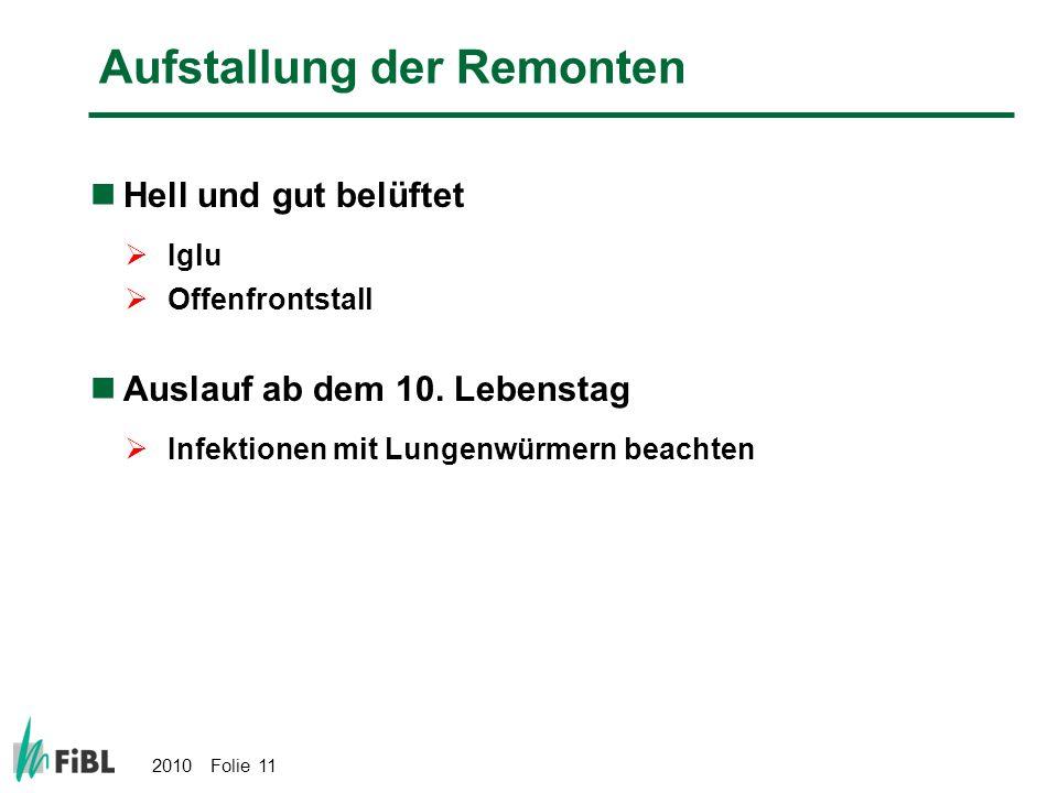 2010 Folie 11 Aufstallung der Remonten Hell und gut belüftet Iglu Offenfrontstall Auslauf ab dem 10. Lebenstag Infektionen mit Lungenwürmern beachten