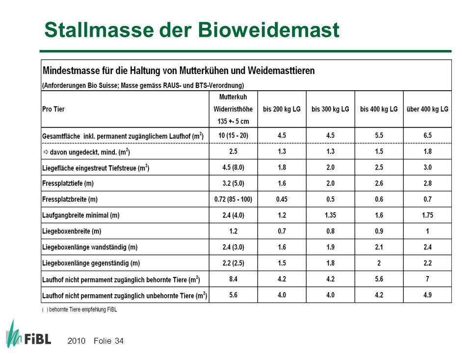 2010 Folie 34 Stallmasse der Bioweidemast