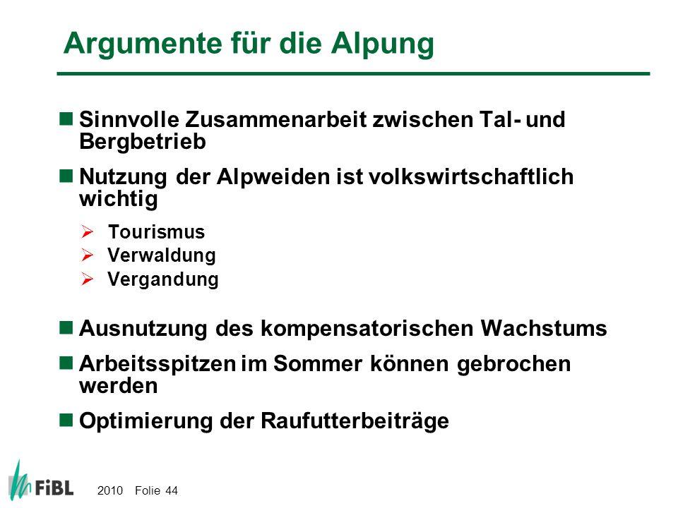 2010 Folie 44 Argumente für die Alpung Sinnvolle Zusammenarbeit zwischen Tal- und Bergbetrieb Nutzung der Alpweiden ist volkswirtschaftlich wichtig To