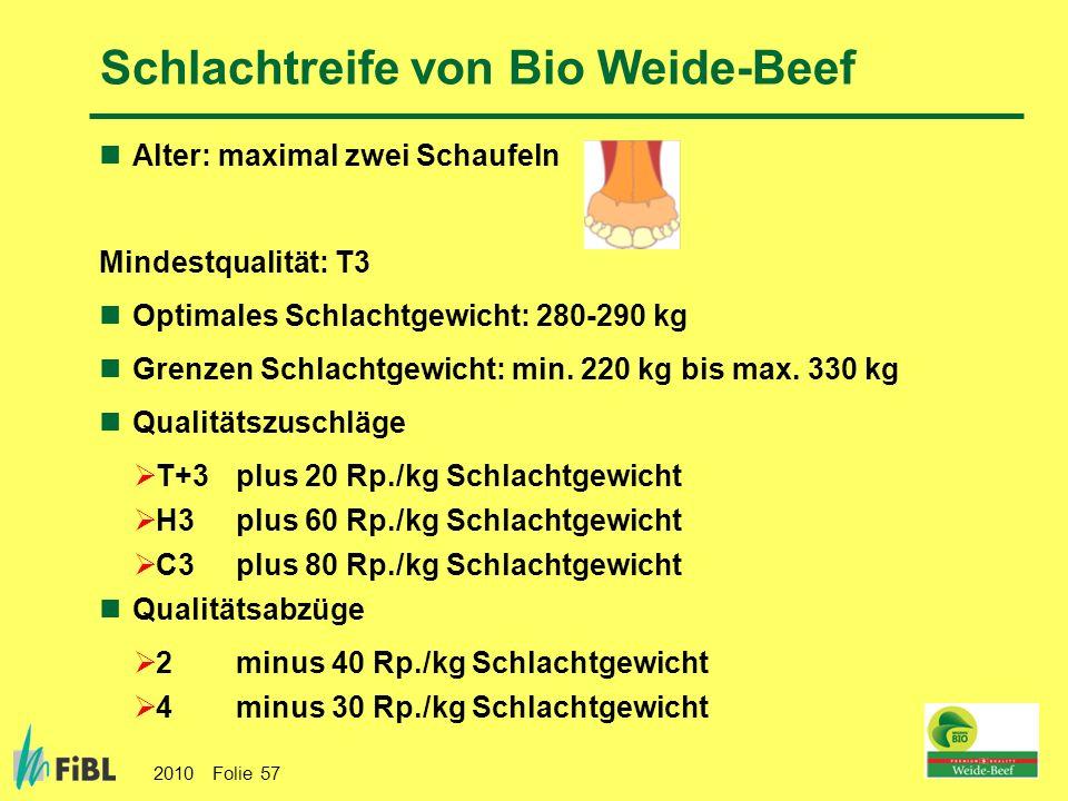 2010 Folie 57 Schlachtreife von Bio Weide-Beef Alter: maximal zwei Schaufeln Mindestqualität: T3 Optimales Schlachtgewicht: 280-290 kg Grenzen Schlach