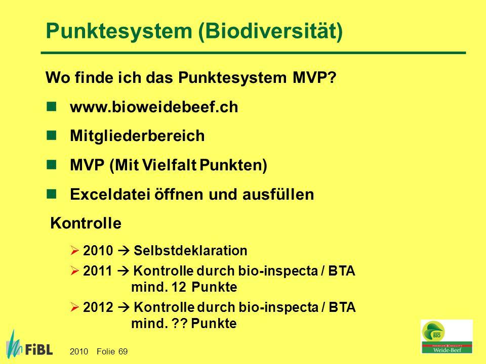 2010 Folie 69 Wo finde ich das Punktesystem MVP? www.bioweidebeef.ch Mitgliederbereich MVP (Mit Vielfalt Punkten) Exceldatei öffnen und ausfüllen Kont