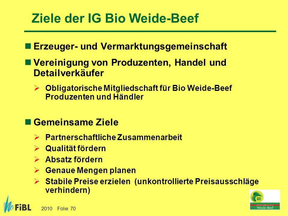 2010 Folie 70 Ziele der IG Bio Weide-Beef Erzeuger- und Vermarktungsgemeinschaft Vereinigung von Produzenten, Handel und Detailverkäufer Obligatorisch