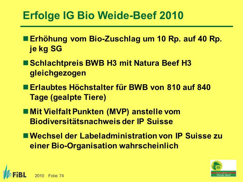 2010 Folie 74 Erfolge IG Bio Weide-Beef 2010 Erhöhung vom Bio-Zuschlag um 10 Rp. auf 40 Rp. je kg SG Schlachtpreis BWB H3 mit Natura Beef H3 gleichgez