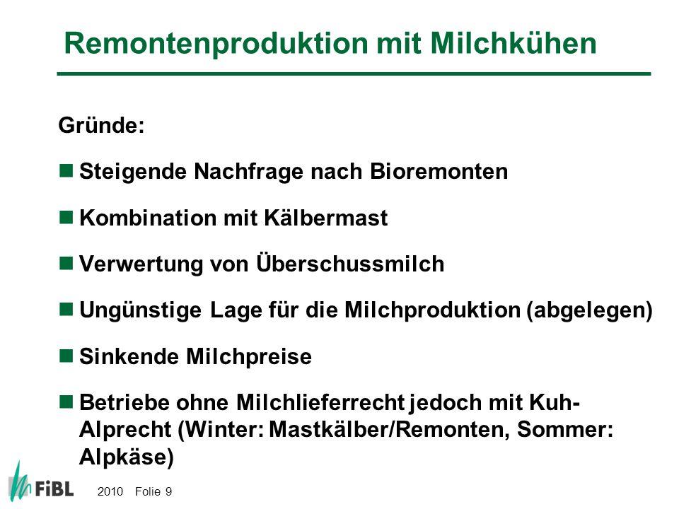 2010 Folie 9 Remontenproduktion mit Milchkühen Gründe: Steigende Nachfrage nach Bioremonten Kombination mit Kälbermast Verwertung von Überschussmilch
