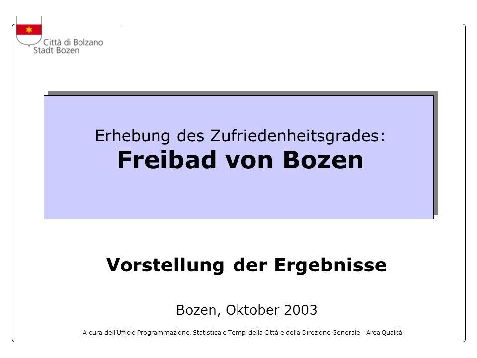A cura dellUfficio Programmazione, Statistica e Tempi della Città e della Direzione Generale - Area Qualità Erhebung des Zufriedenheitsgrades: Freibad von Bozen Vorstellung der Ergebnisse Bozen, Oktober 2003