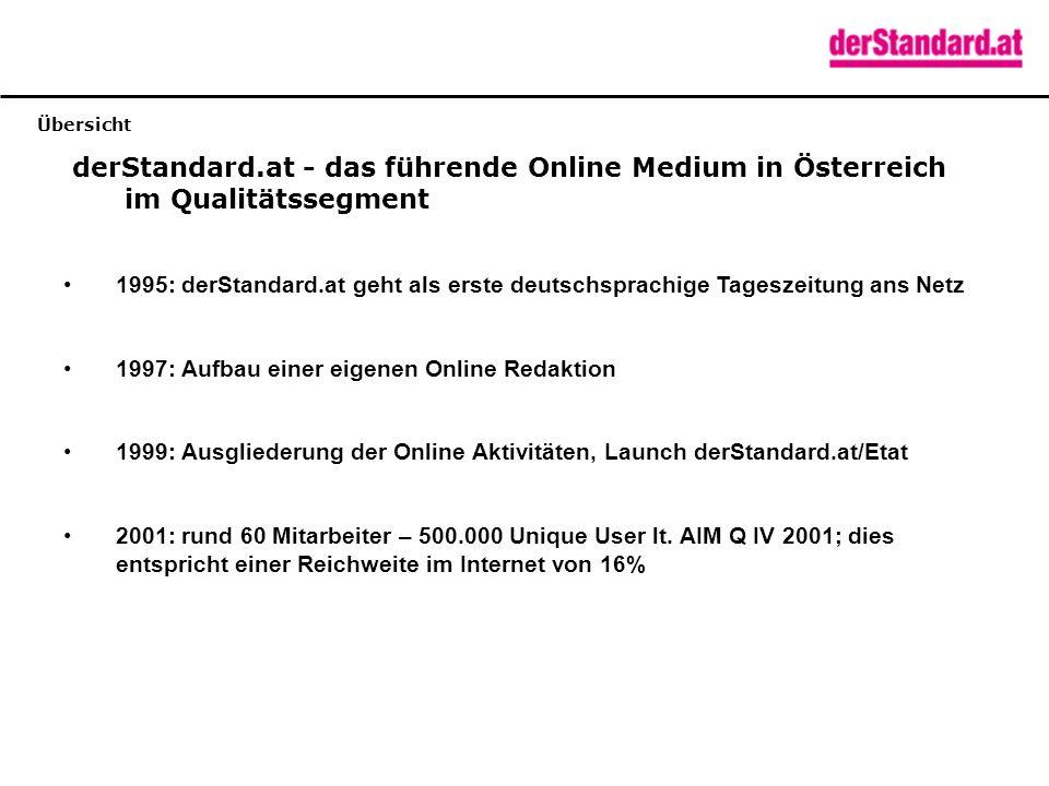 Zugriffe Etat Kontinuierliche Steigerung der Zugriffszahlen auf derStandard.at / Etat Der Channel Etat wird im Zeitraum von einem Monat von mehr als 100.000 Personen (Unique User) besucht.