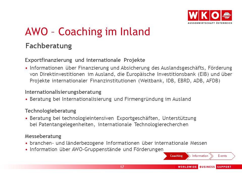 17 CoachingInformationEvents Exportfinanzierung und internationale Projekte Informationen über Finanzierung und Absicherung des Auslandsgeschäfts, För