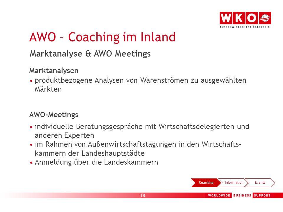 18 CoachingInformationEvents Marktanalyse & AWO Meetings Marktanalysen produktbezogene Analysen von Warenströmen zu ausgewählten Märkten AWO-Meetings