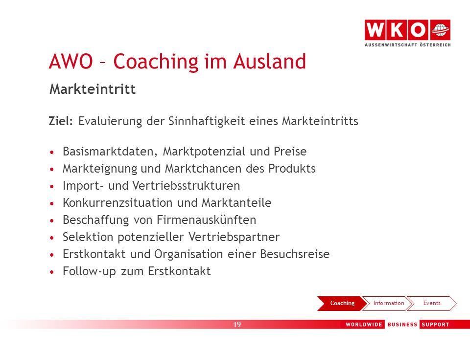 19 AWO – Coaching im Ausland CoachingInformationEvents Markteintritt Ziel: Evaluierung der Sinnhaftigkeit eines Markteintritts Basismarktdaten, Marktp