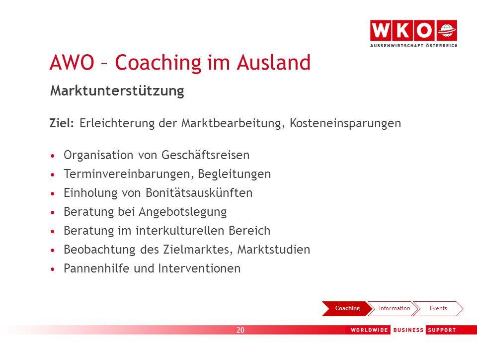 20 AWO – Coaching im Ausland CoachingInformationEvents Marktunterstützung Ziel: Erleichterung der Marktbearbeitung, Kosteneinsparungen Organisation vo