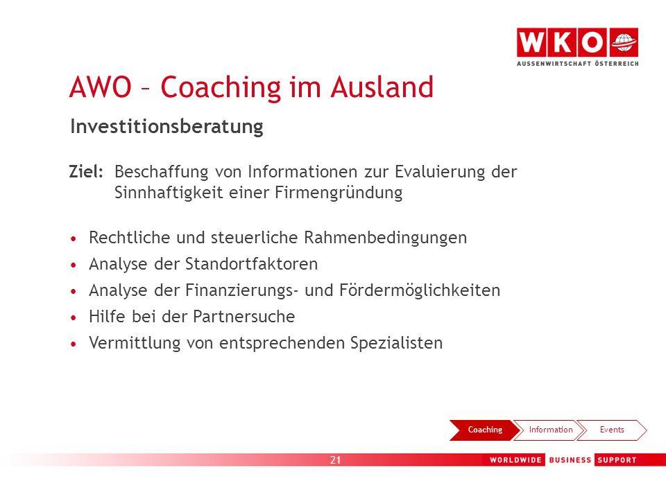 21 AWO – Coaching im Ausland CoachingInformationEvents Investitionsberatung Ziel: Beschaffung von Informationen zur Evaluierung der Sinnhaftigkeit ein