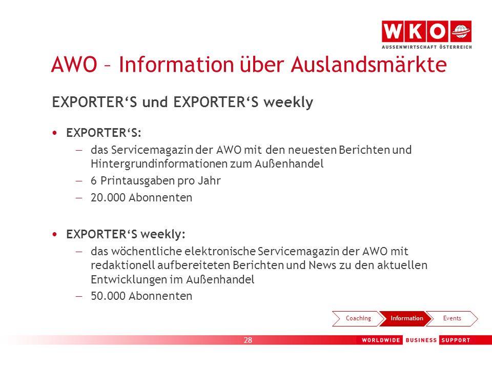 28 AWO – Information über Auslandsmärkte EXPORTERS: das Servicemagazin der AWO mit den neuesten Berichten und Hintergrundinformationen zum Außenhandel