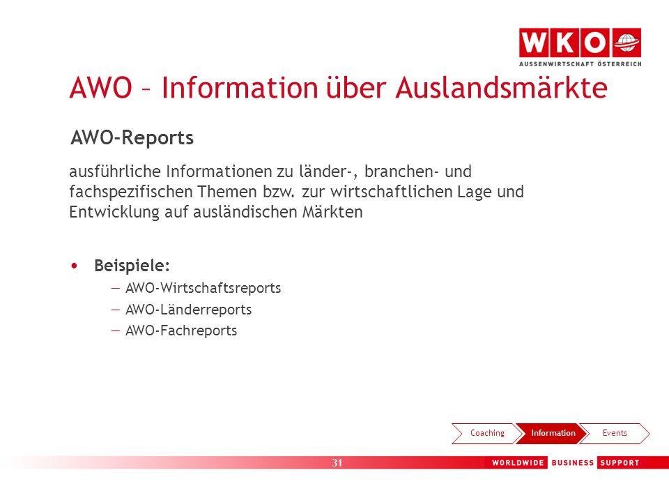 31 AWO – Information über Auslandsmärkte CoachingInformationEvents AWO-Reports ausführliche Informationen zu länder-, branchen- und fachspezifischen T