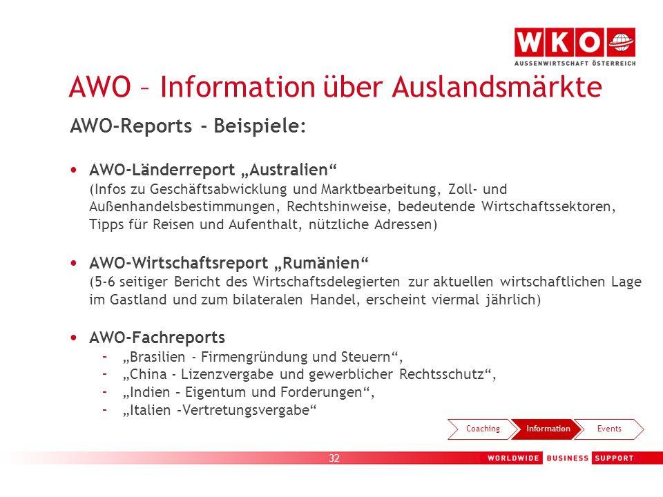 32 AWO – Information über Auslandsmärkte AWO-Länderreport Australien (Infos zu Geschäftsabwicklung und Marktbearbeitung, Zoll- und Außenhandelsbestimm