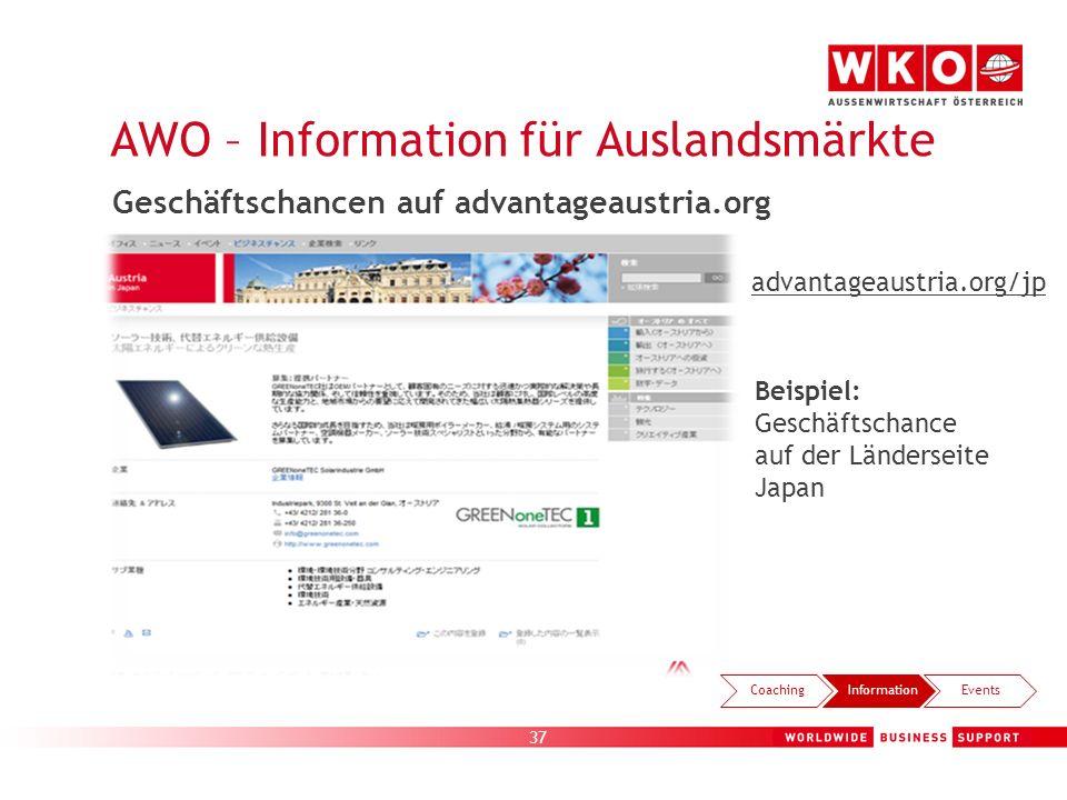 37 Beispiel: Geschäftschance auf der Länderseite Japan AWO – Information für Auslandsmärkte CoachingInformationEvents advantageaustria.org/jp Geschäft