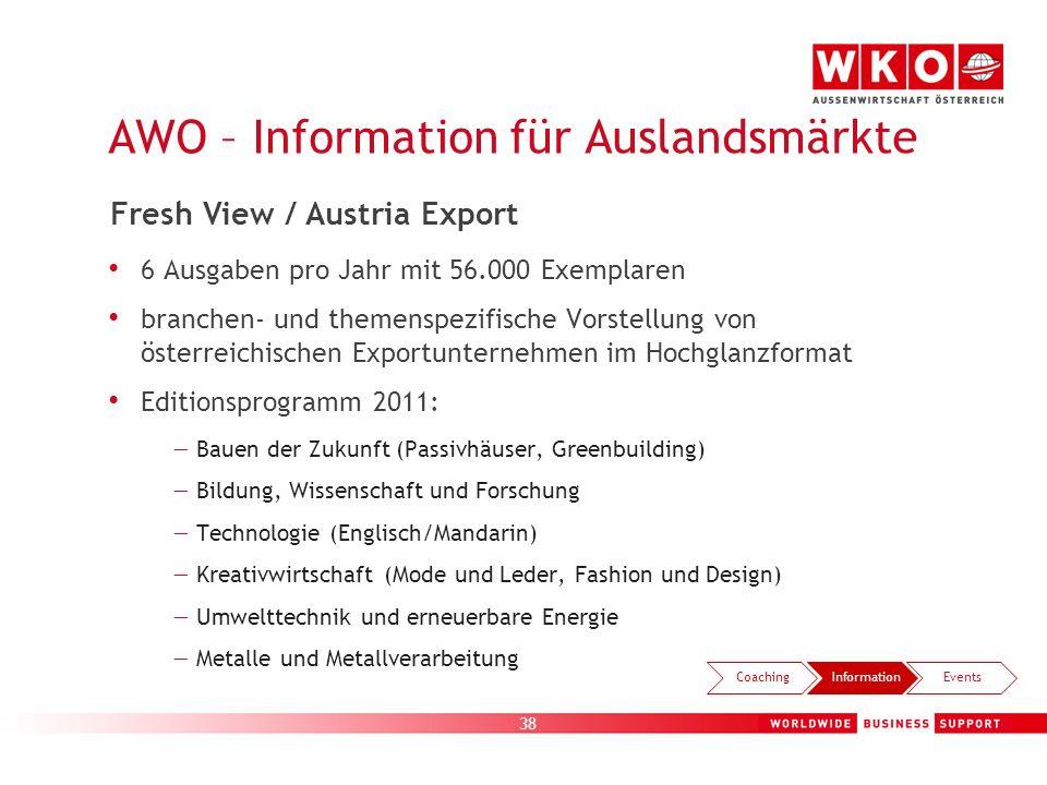 38 AWO – Information für Auslandsmärkte 6 Ausgaben pro Jahr mit 56.000 Exemplaren branchen- und themenspezifische Vorstellung von österreichischen Exp