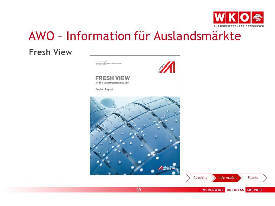 39 AWO – Information für Auslandsmärkte CoachingInformationEvents Fresh View