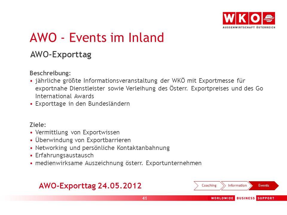 41 AWO - Events im Inland CoachingInformationEvents AWO-Exporttag Beschreibung: jährliche größte Informationsveranstaltung der WKÖ mit Exportmesse für