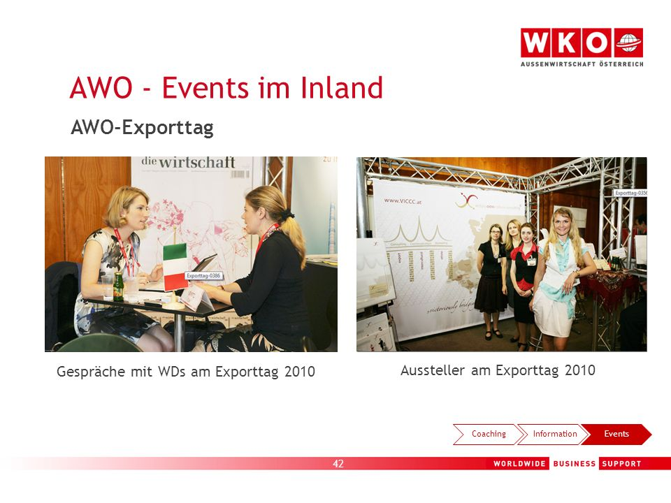 42 AWO - Events im Inland Gespräche mit WDs am Exporttag 2010 Aussteller am Exporttag 2010 CoachingInformationEvents AWO-Exporttag