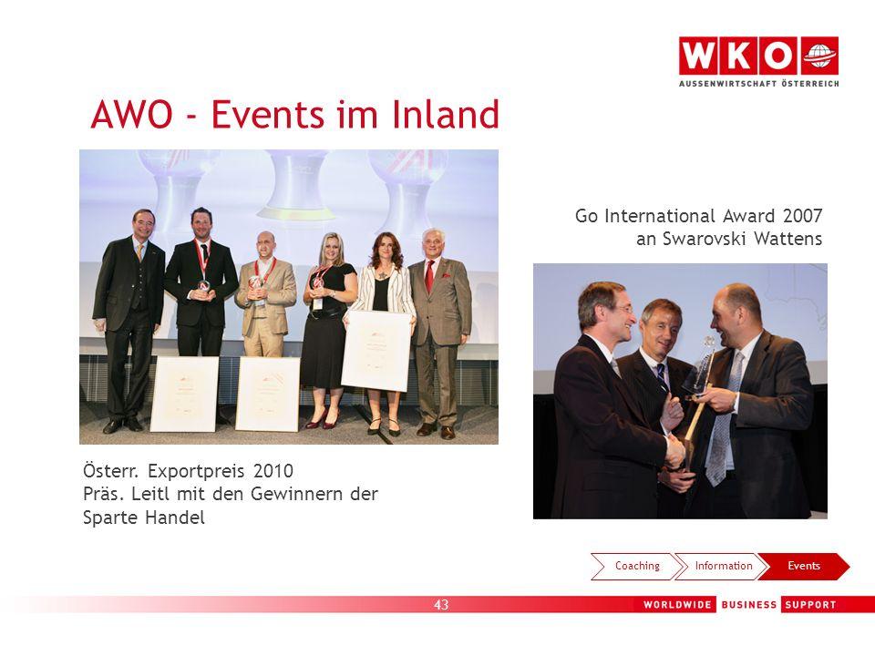43 AWO - Events im Inland Österr. Exportpreis 2010 Präs. Leitl mit den Gewinnern der Sparte Handel Go International Award 2007 an Swarovski Wattens Co