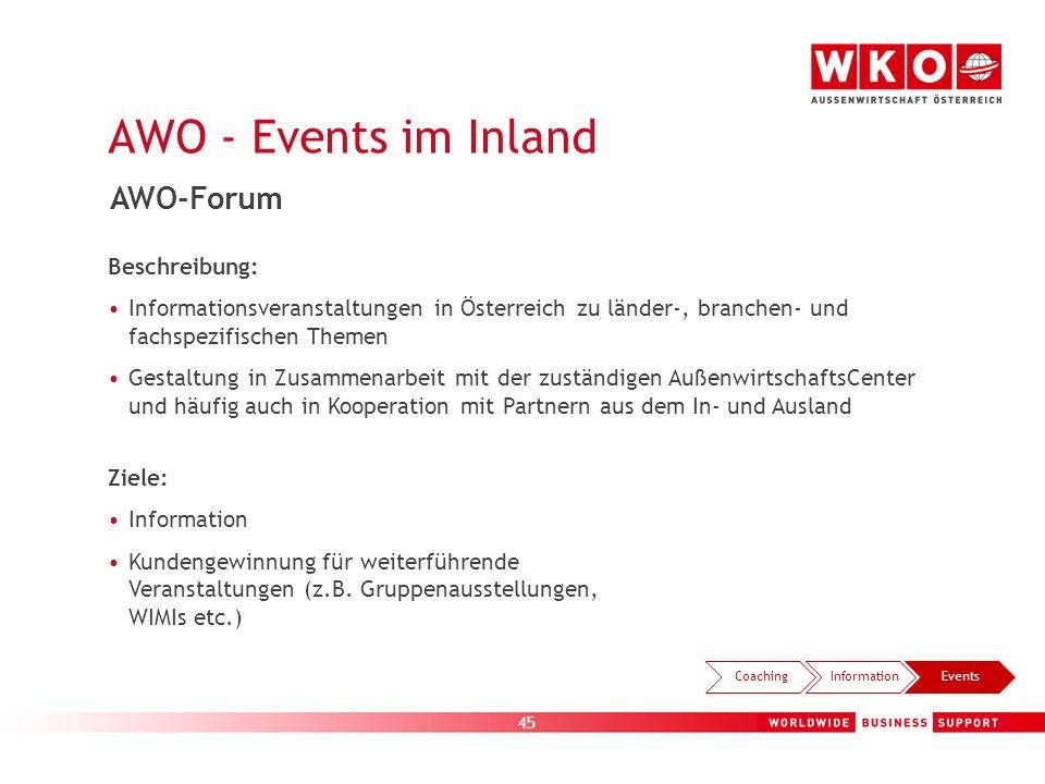 45 AWO - Events im Inland CoachingInformationEvents AWO-Forum Beschreibung: Informationsveranstaltungen in Österreich zu länder-, branchen- und fachsp