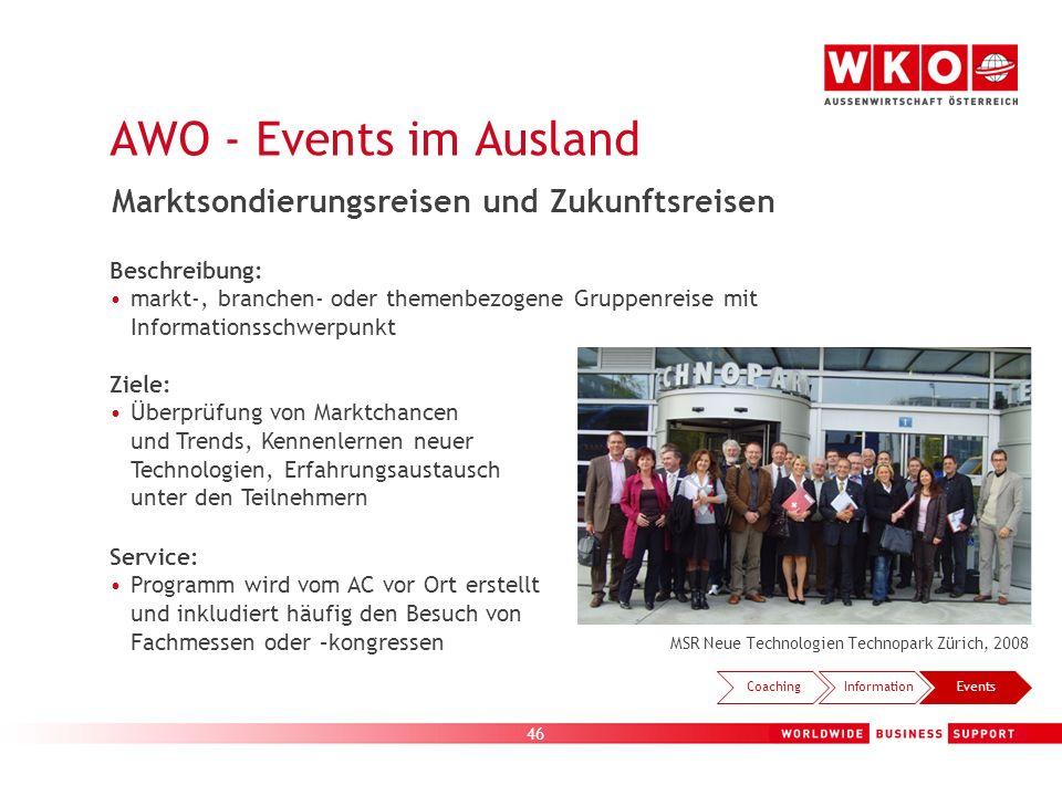 46 MSR Neue Technologien Technopark Zürich, 2008 CoachingInformationEvents Marktsondierungsreisen und Zukunftsreisen Beschreibung: markt-, branchen- o