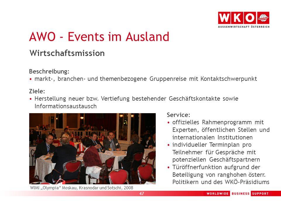47 AWO - Events im Ausland WIMI Olympia Moskau, Krasnodar und Sotschi, 2008 Wirtschaftsmission Beschreibung: markt-, branchen- und themenbezogene Grup