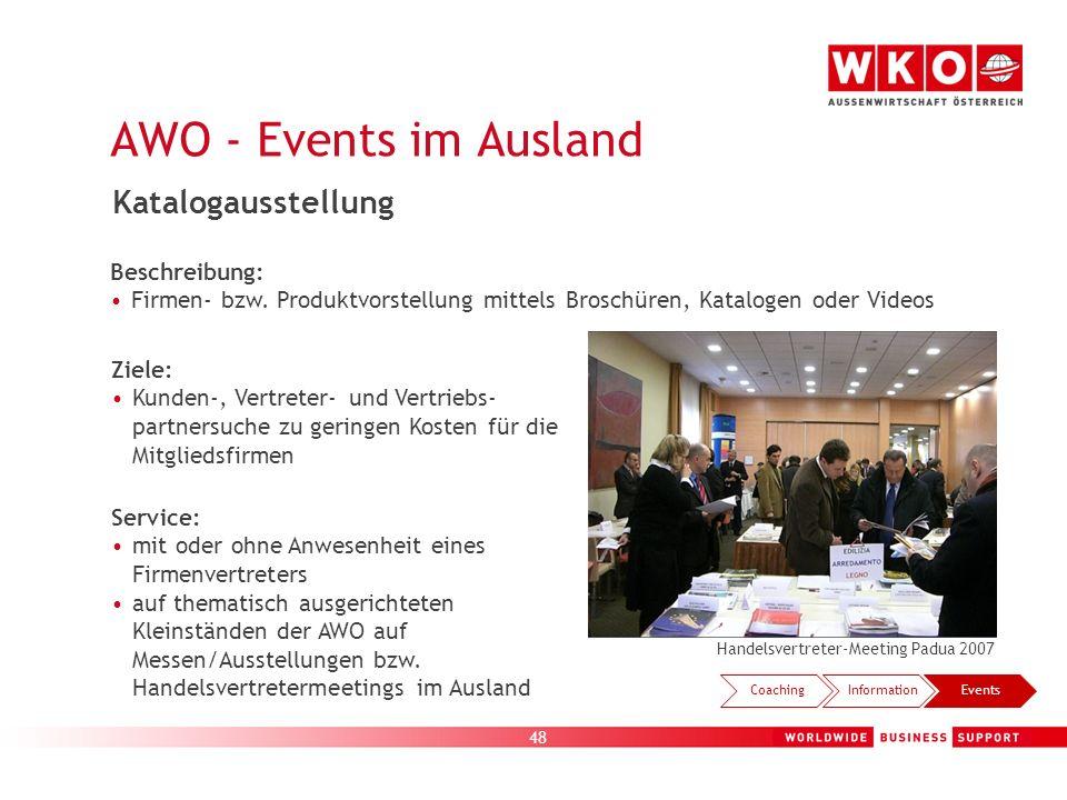 48 AWO - Events im Ausland Handelsvertreter-Meeting Padua 2007 CoachingInformationEvents Katalogausstellung Beschreibung: Firmen- bzw. Produktvorstell